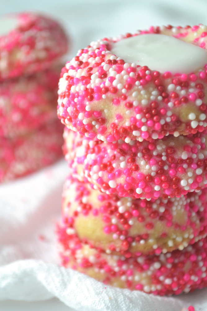 Fridge to Fork - Valentine's Almond Thumbprint Cookies