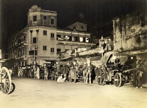 Nightfall in Calcutta stirs the imagination and curiosity as to waht goes on down dimly-lit alleys oftenleads an occasional soldier into the out-of-bounds areas. If you don't know the way, five rupees will buy a trip to the few still existent brothels in one of the garies shown here. (Warning: MP's take a poor view).