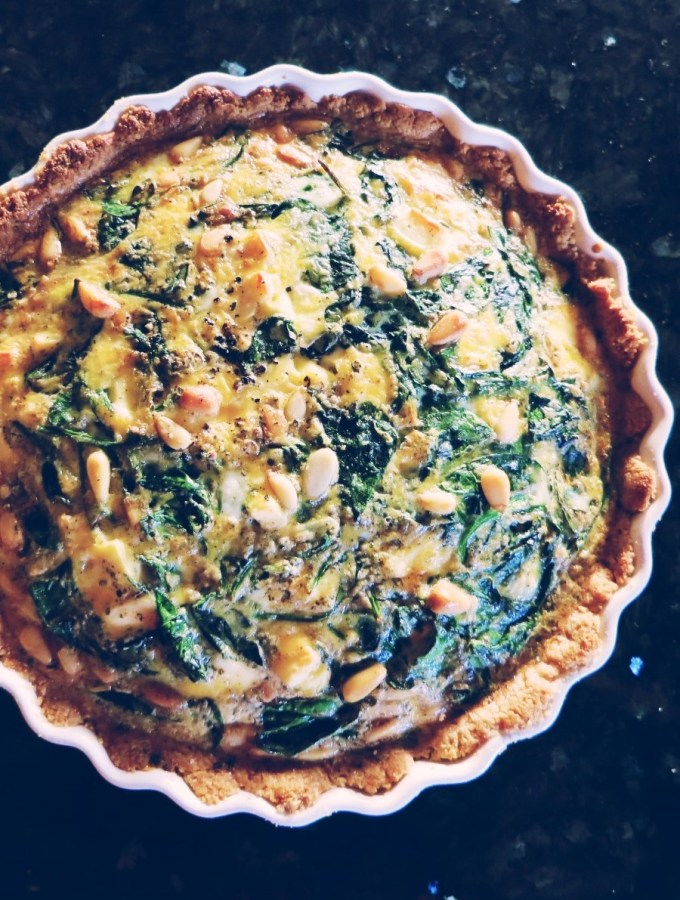 Spinach & Feta Quiche with Almond Crust