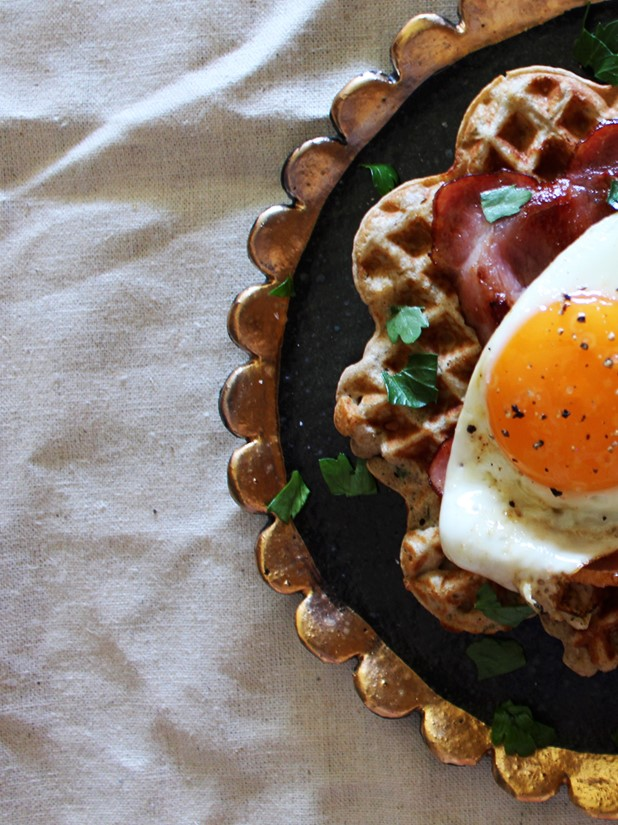 Gluten Free Savoury Waffles with Bacon and Eggs