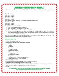 Printable Candy Cane Amish Friendship Bread Instructions | friendshipbreadkitchen.com