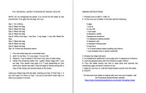 Printable Large Print Amish Friendship Bread Instructions | friendshipbreadkitchen.com