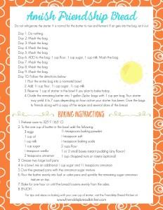 Printable Orange Summer Sun Swirl Amish Friendship Bread Instructions | friendshipbreadkitchen.com