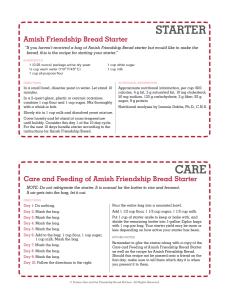 Printable Amish Friendship Bread Starter Recipe Card | friendshipbreadkitchen.com