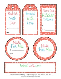 Printable Colorful Fun Red Amish Friendship Bread Tags and Labels | friendshipbreadkitchen.com