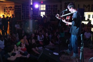 Jon Watts performing at George School during the Quaker Youth Leadership Conference.