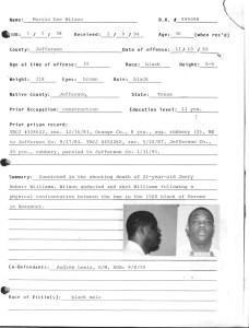 Offender information for death row prisoner Marvin Lee Wilson