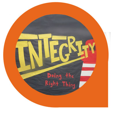Integrity bulletin board by Greene Street Friends School art teacher, Marie Huard.