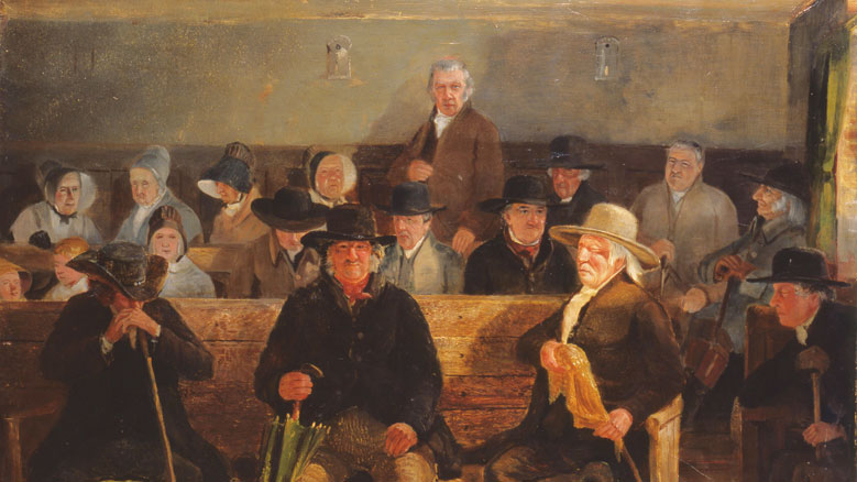 """Eirith Monthly Meeting,"" a oil painting by Samuel Lucas"