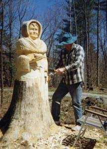 Turning a pine tree into Saint Francis.