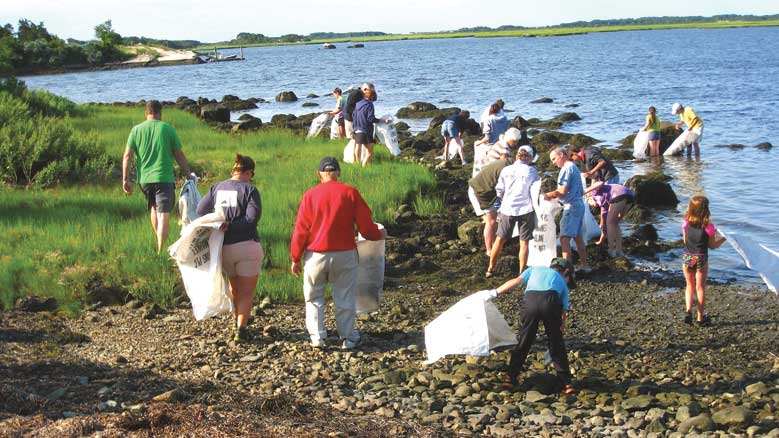 Allen's Neck Meeting Friends gather rockweed for clambake, 2014. Courtesy Joseph E. Ingoldsby.