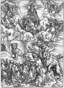 """The Revelation of St John: 12. The Sea Monster and the Beast with the Lamb's Horn."" A woodcut by Albrecht Durer."