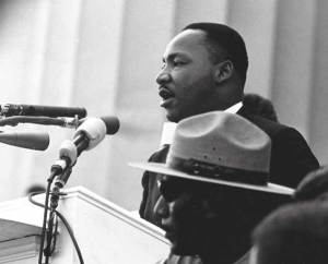 "Martin Luther King Jr. delivering ""I Have a Dream"" at the 1963 March on Washington for Jobs and Freedom."