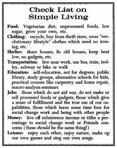 """Check List on Simple Living"" (FJ April 15, 1975)"