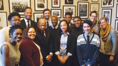 Gabby Hammons (center, with short hair) next to Congressman John Lewis during FCNL's Spring Lobby Weekend, 2016.
