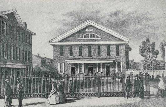 Race Street Meetinghouse from Hicks Street, 1860 (archival).