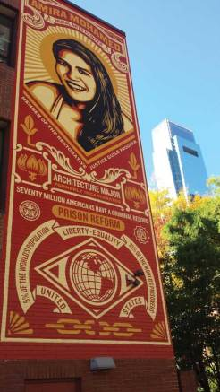 Shepard Fairey's The Stamp of Incarceration: Amira Mohamed, installed 2015.