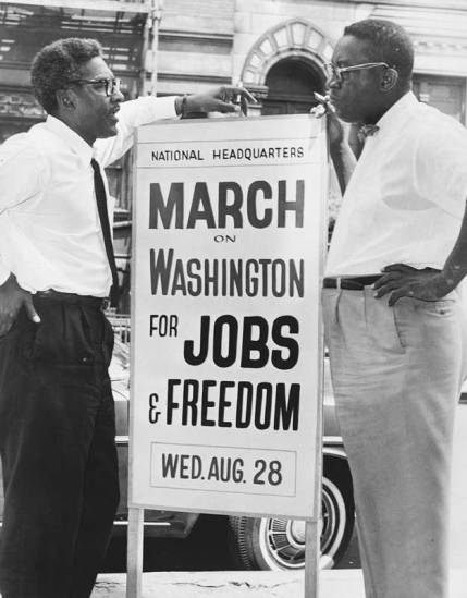Bayard Rustin (left) and Cleveland Robinson, March on Washington, August 1963. (c) Orlando Fernandez, New York World-Telegram and the Sun. From WIkimedia Commons.