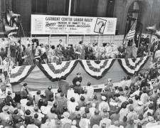 Street rally in New York City, October 11, 1955, under joint sponsorship of NAACP and District 65. Retail, wholesale, and department store union workers protest the slaying of Emmitt Till. From Wikimedia Commons.