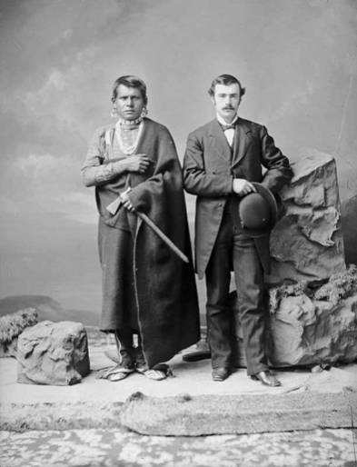 Kansa chief Quyulange, also known as Eagle Plume, and Addison Woodard Stubbs. Addison's father, Mahlon, and his family went to Kansas from Indiana in the early 1860s to open an new industrial boarding school for Kansa children, under the care of Plainfield (Ind.) Meeting. Courtesy of Kansas Historical Society.