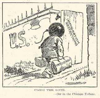 """""""Close the Gate,"""" a political cartoon during the First Red Scare advocating restrictions on immigration. """"The Literary Digest,"""" 7/5/1919. Originally in the Chicago Tribune. © Wikimedia Commons."""