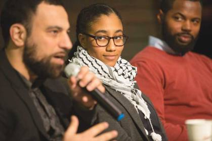 "AFSC Corporation Meeting, March 4, 2016. ""When I see them, I see us: Policing in a community under occupation, how we resist across movements and promote alternatives."" Presenters (L to R): Ahmad Nabil Abuznaid (cofounder of the Dream Defenders), Tabitha Mustafa (Peace by Piece, AFSC New Orleans), and Joshua Saleem (AFSC St. Louis)."