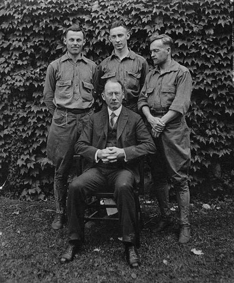 Rufus Jones (sitting) with Haverford College students who took part in a training program prior to the founding of AFSC, to help prepare them for non-combatant participation in World War I. Photo courtesy of AFSC.