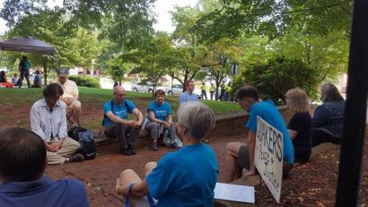 Charlottesville Friends in worship at Justice Park. Photo by David Lewis.