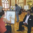 Guilford College Undergraduate Symposium art event in the library's 1909 Carnegie Roo. (Hege College, Greensboro, N.C.)