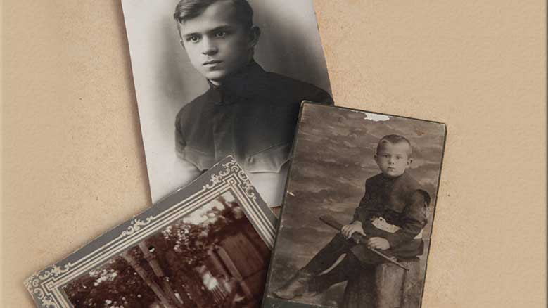 Old photographs of young people.