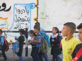 Gaza as children are leaving school.