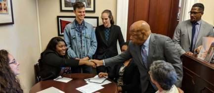 Rep. John Lewis (D-GA) meets with participants of FCNL's Spring Lobby Weekend, March 2017. Photo: Jose Woss.