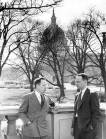 Wilmer Cooper, then FCNL administrative secretary, and Ed Snyder, legislative secretary, in 1956 in front of the U.S. Capitol.