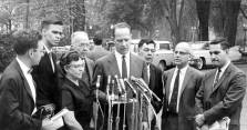 Ed Snyder speaks at a press conference following a Quaker delegation visit to President Kennedy, May 1, 1962. Left to right: David Hartsough, Dorothy Hutchinson, Henry J. Cadbury, Ed Snyder, Samuel R. Levering, and George Willoughby.