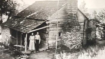 The author's grandparents on the porch of their cabin in Kentucky.