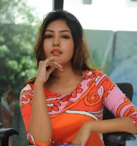 Komal Jha Latest Photos in Orange Dress