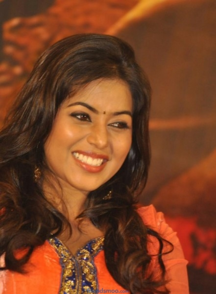 Poorna Latest Photos in Orange Dress