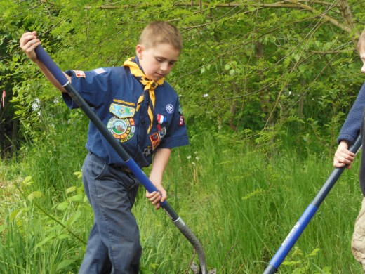 Boy Scout with shovel. May 10th, 2014