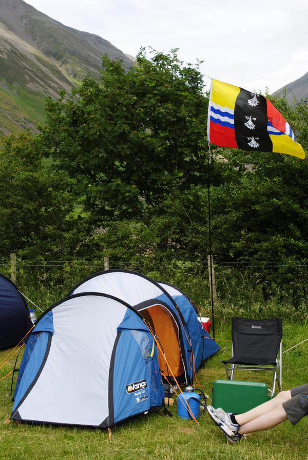 Barry Ephgrave's flag flying next to his tent
