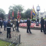 flag bearers and plaque hednesford
