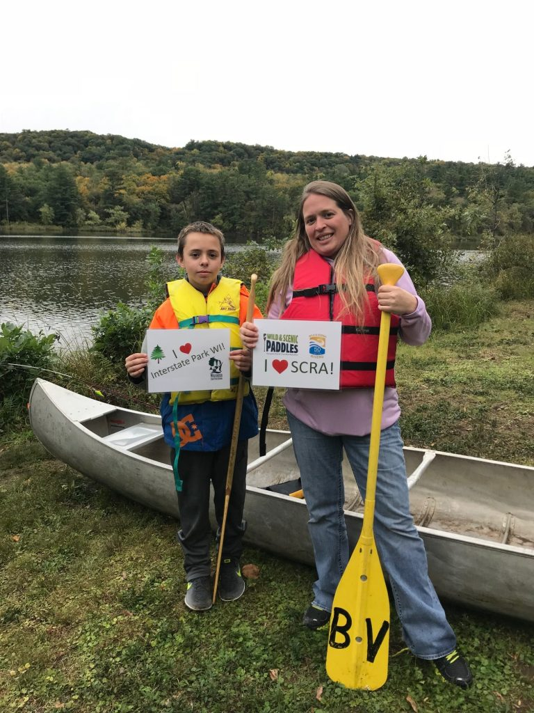 Mom and son after canoe event