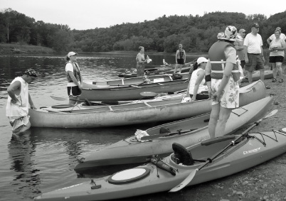 Paddlers at Eagle's Nest on Solstice Eve