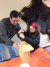 Building a bluebird house at the Ice Age Visitor Center