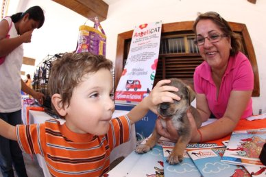 A young blind boy pets a puppy at an adoption event.