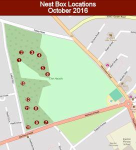 Nest Box Locations, Oct 2016