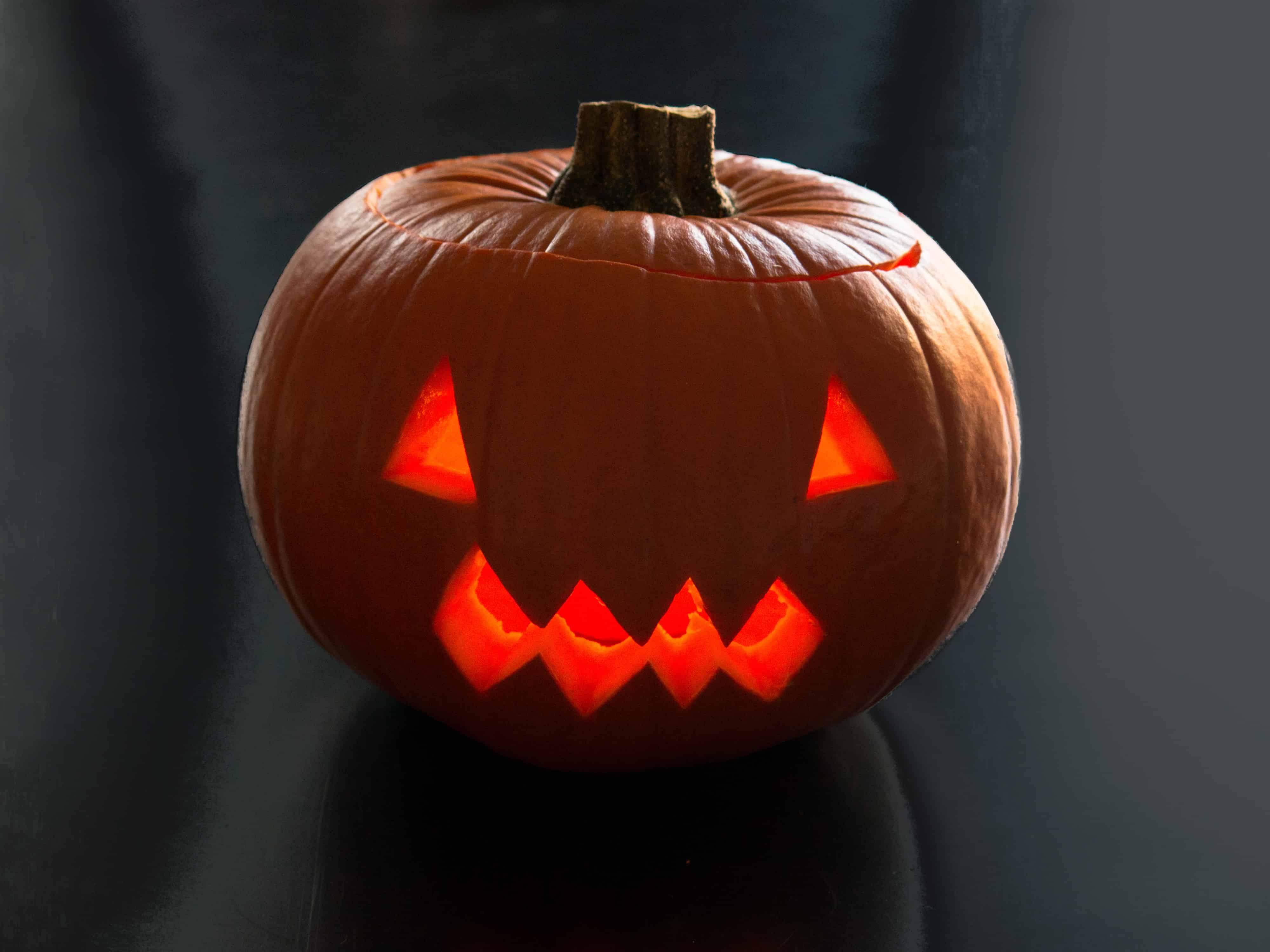 Halloween carved pumpkin lantern.