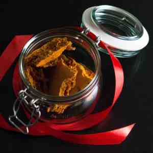 Gluten free, vegan honeycomb AKA cinder toffee home made gift. In a presentation jar with ribbon
