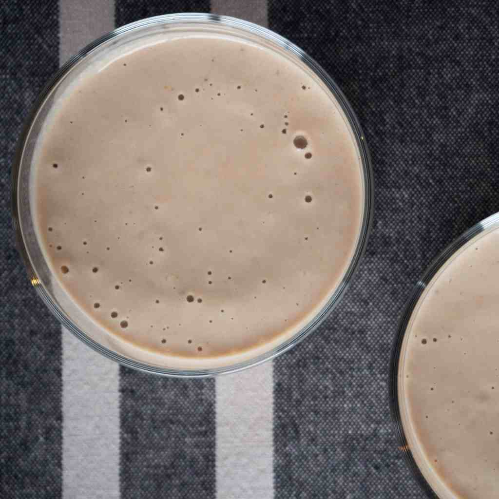 Banana, almond and peanut butter smoothie. Gluten free, vegan