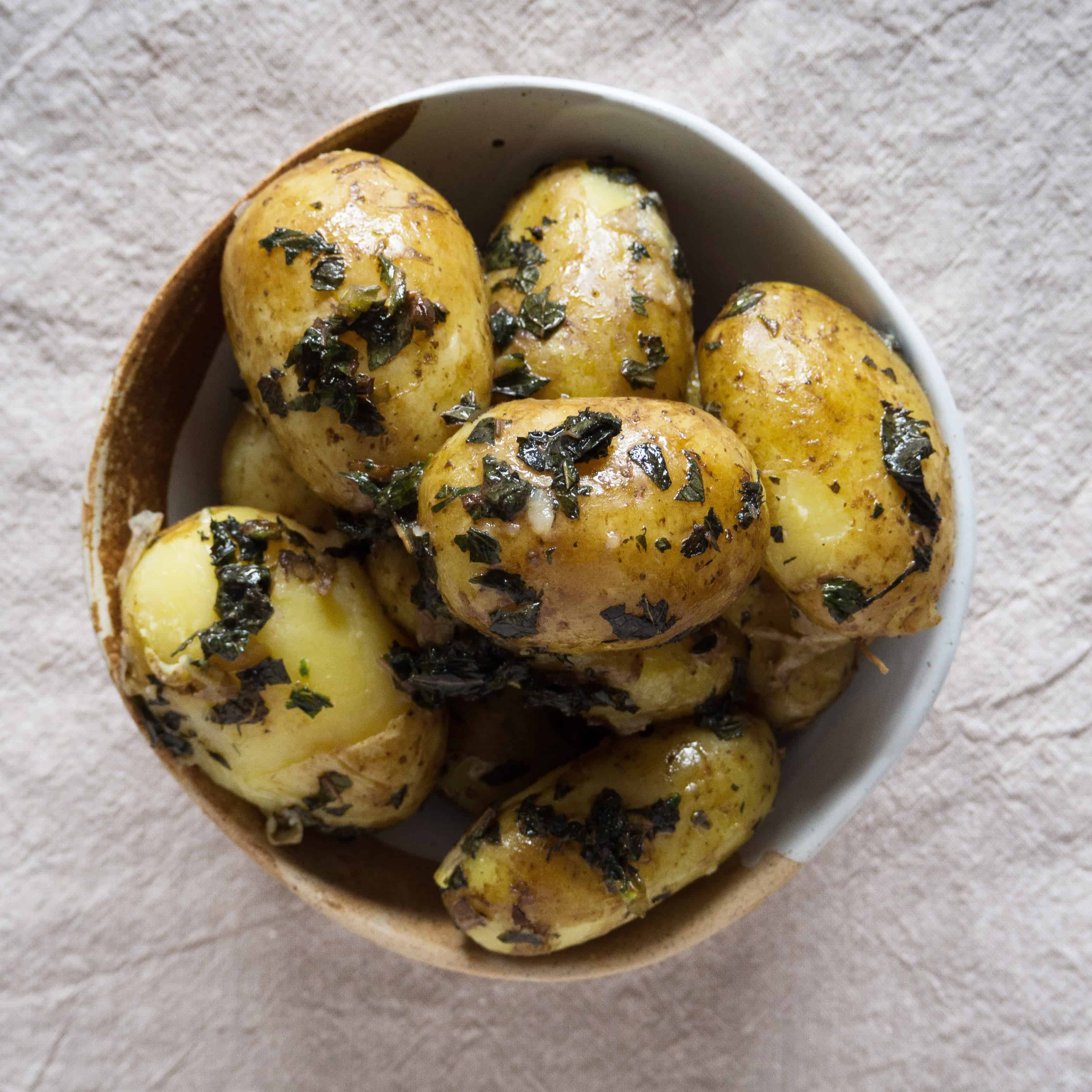 Jersey Royal potatoes with fresh mint