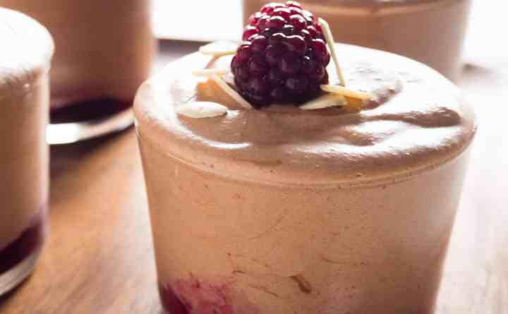 Gluten-Free, Vegan, Blackberry and Almond Chocolate Mousse.
